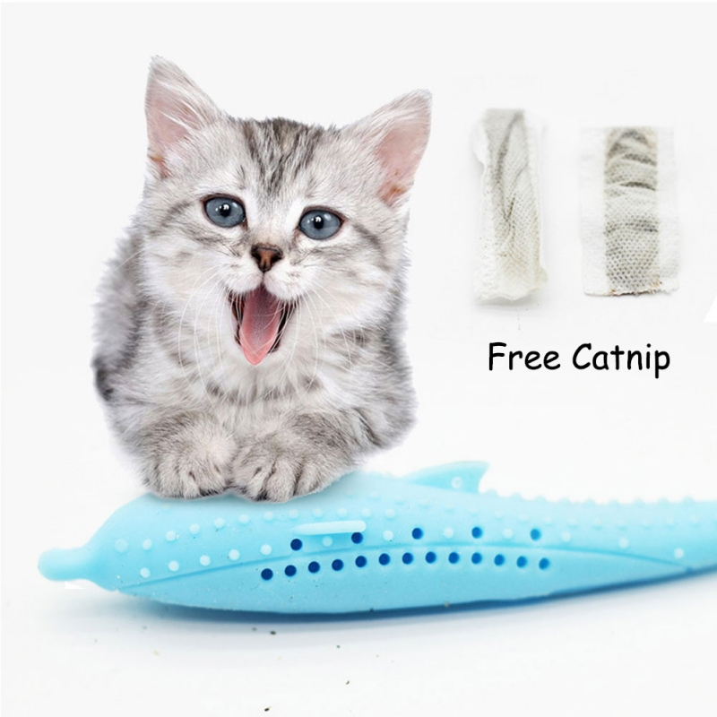 Hot Fish Shape Pet Cat Toothbrush Toy Catnip Flavor Food Grade Silicone Molar Stick Teeth Cleaning Toy Cats Kitten Pet Supplies in Cat Toys from Home Garden