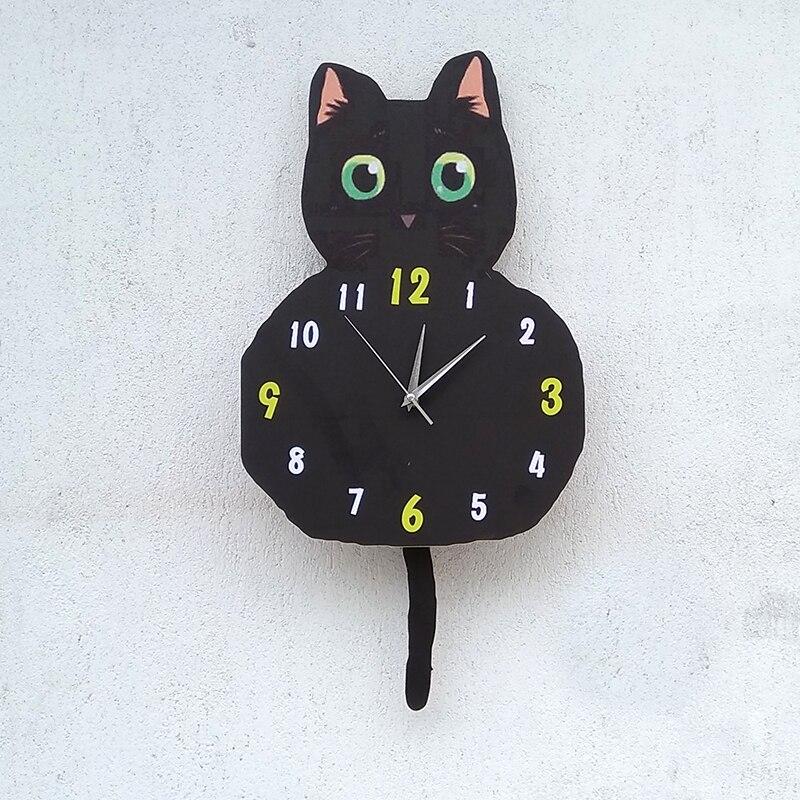 Belle décoration de chat noir montre silencieuse chambre maternelle montre salle de classe montre créative horloges dessin animé horloge murale