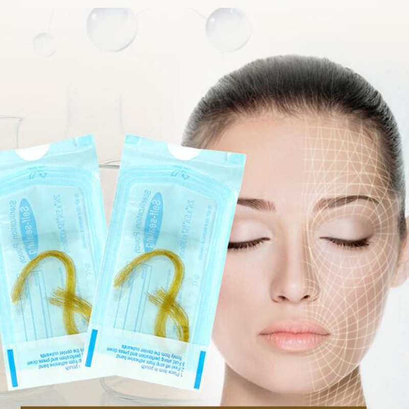 12 Lines X 10 Bags Gold Carved Protein Line Enhances Facial Firming And Improves Relaxation And Fades Fine Lines Crow's Feet