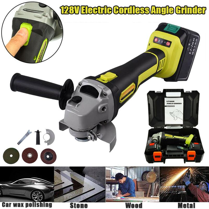 128V Rechargeable Electric Wireless Brushless Angle Grinder Wrench Portable Polishing Metal Stone Cutting Wood Storage Tool Set