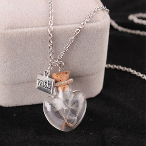 Женское и мужское простое ожерелье с подвеской из прозрачного стекла, в форме сердца, в виде стеклянной бутылки, ожерелье с цепочкой из семя...