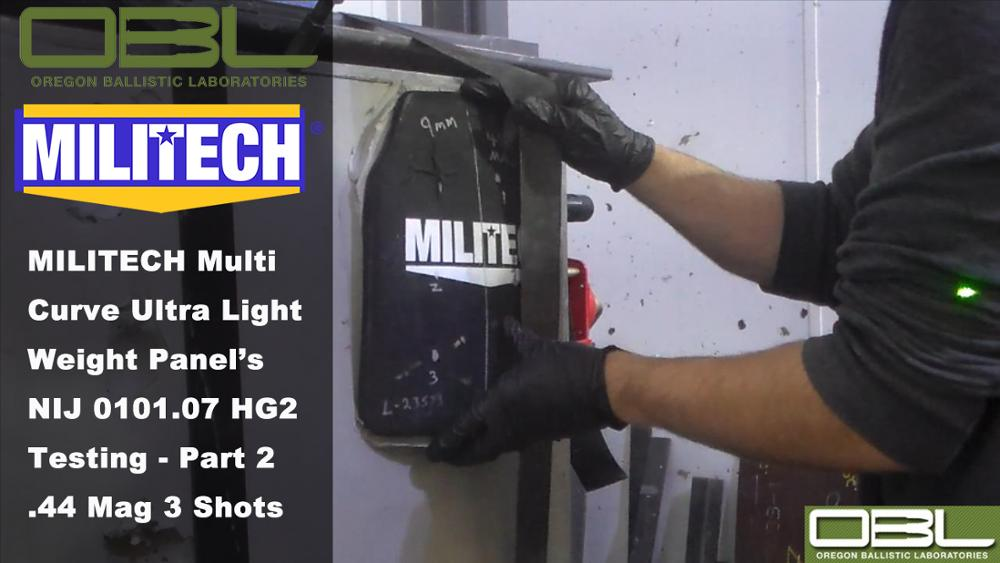 Test Video--MILITECH HG2 NIJ 0101.07 & NIJ IIIA 0101.06 Multi Curve Hard Armor Testing - Part 2 .44 Magnum