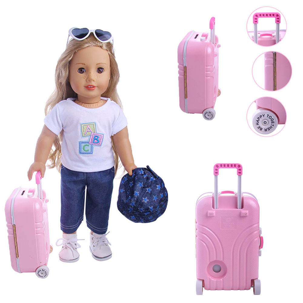 Doll Accessories Box Suitcase For American Doll  Pink Silver Dolls Travel Suitcase Fit For 18 Inch Dolls
