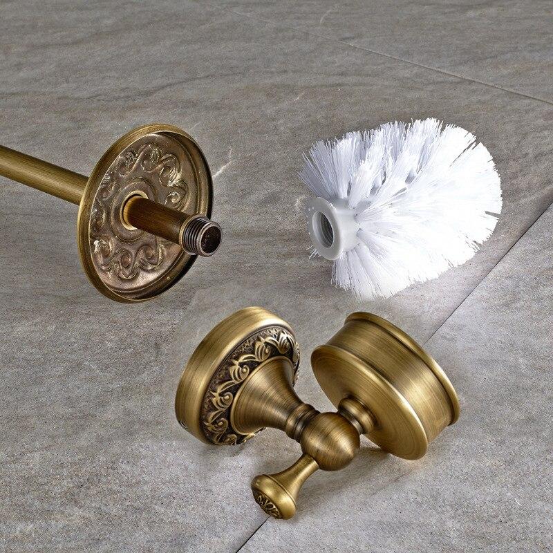 Toilet brush holder Antique creative bathroom pendant Hand brushed brass ceramic cup toilet brush toilet. brush holder