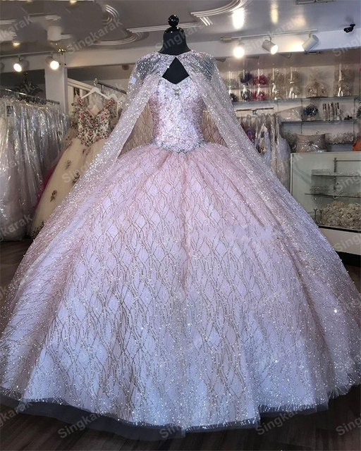 2021 Champagne Sequined Quinceanera Dresses With Beads Sleeveless Ball Gown Sweet 16 Dress Vestidos De 15 Anos quinceanera