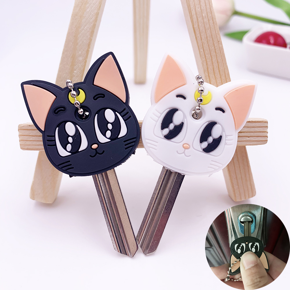 Protective Key Case Cover For Key Control Dust Cover Holder Cartoon Cat Silicone Organizer Cat Home Accessories Supplies