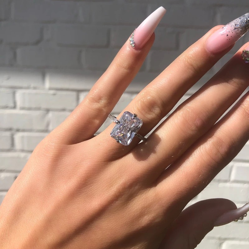 Fashion 925 Sterling Silver Ring Luxury Big Crystal Rings For Women Femme Jewlery 2021 Size 6 7 8 9 10