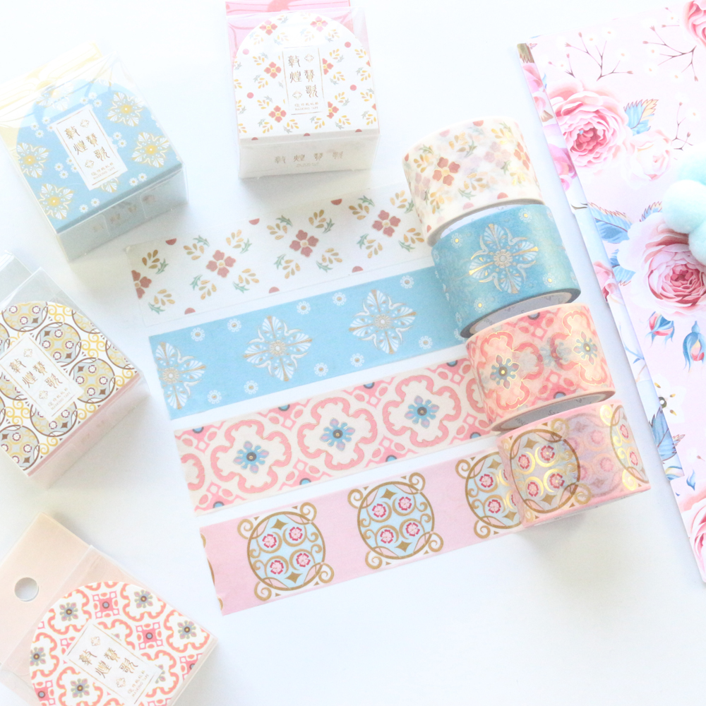Domikee New Cute Chinese Design Gold Foil Decoration Washi Paper Masking Tape Roll School Kawaii Washi Tape Lot Stationery 3cm