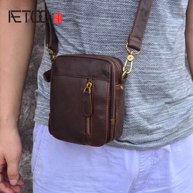 AETOO Casual Bag Genuine Leather Small Shoulder Bag Mini Bag Men's Real Leather Vintage Oil Max Messenger  Bag