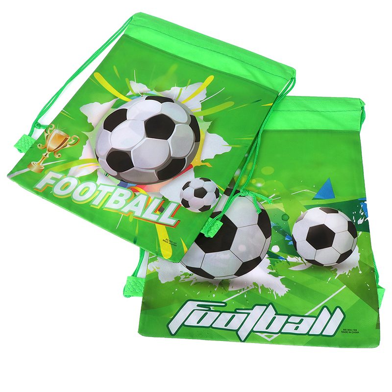 5PCS Fashion Green Football Drawstring Bags Kids Boy Favors Non-Woven Fabric Backpack School Backpacks Random
