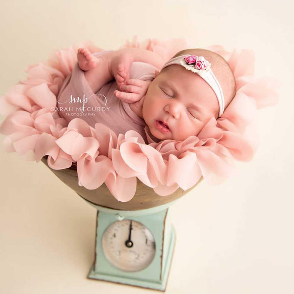 Top Selling! Diameter Around 50cm 2pcs/lot Soft Chiffon Round Flower Blanket For NEWBORN PHOTOGRAPHY PROPS And BABY SHOWER GIFT