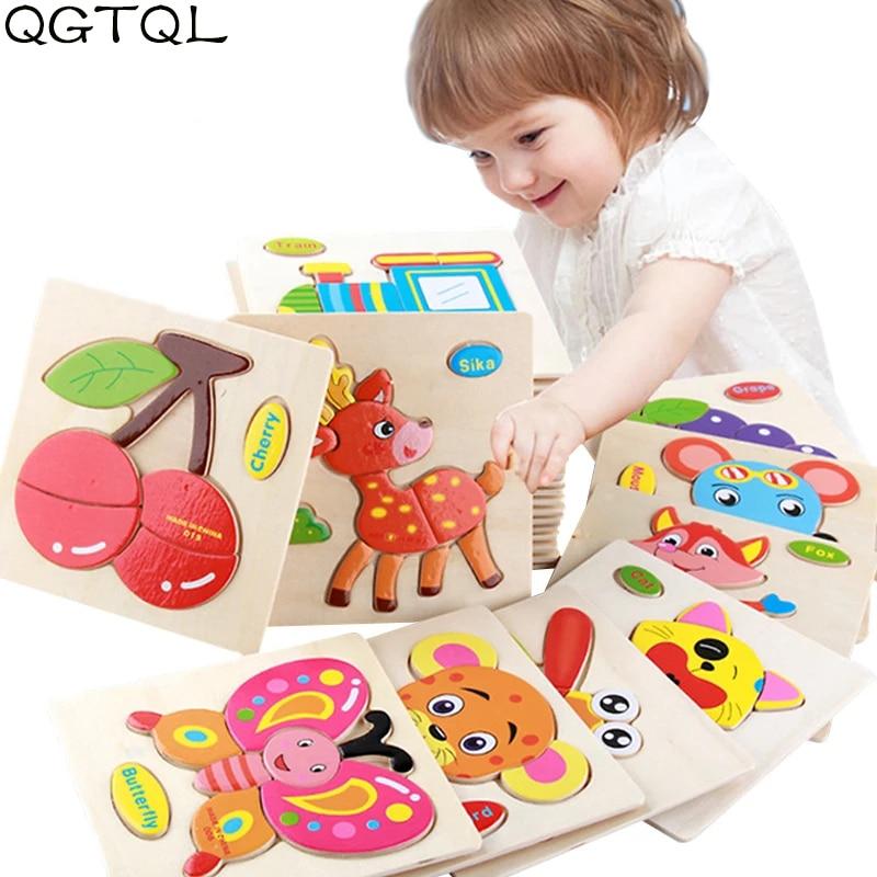 Baby Toys Wooden 3d Puzzle Cartoon Animal Intelligence Kids Educational Brain Teaser Children Tangram Shapes  Learning Jigsaw
