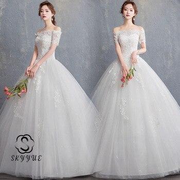 Skyyue Wedding Dresses FR672 Sequined Lace Up Wedding Dress Appliques Crystal Vestidos De Novia Off The Shoulder Bridal Gowns
