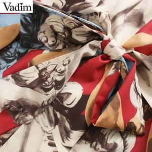 Image 4 - Vadim women elegant print midi dress bow tie collar sashes long sleeve female office wear stylish casual mid calf dresses QC896