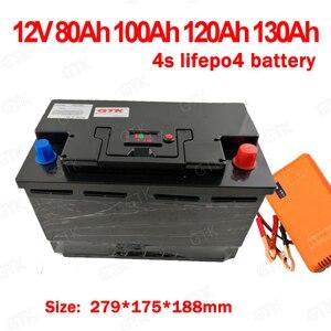 GTK lithium 12V 12.8v 120AH 100Ah 80Ah 130Ah lifepo4 battery deep cycle for 1200W boat inverter subwoofer golf cart +10A Charger