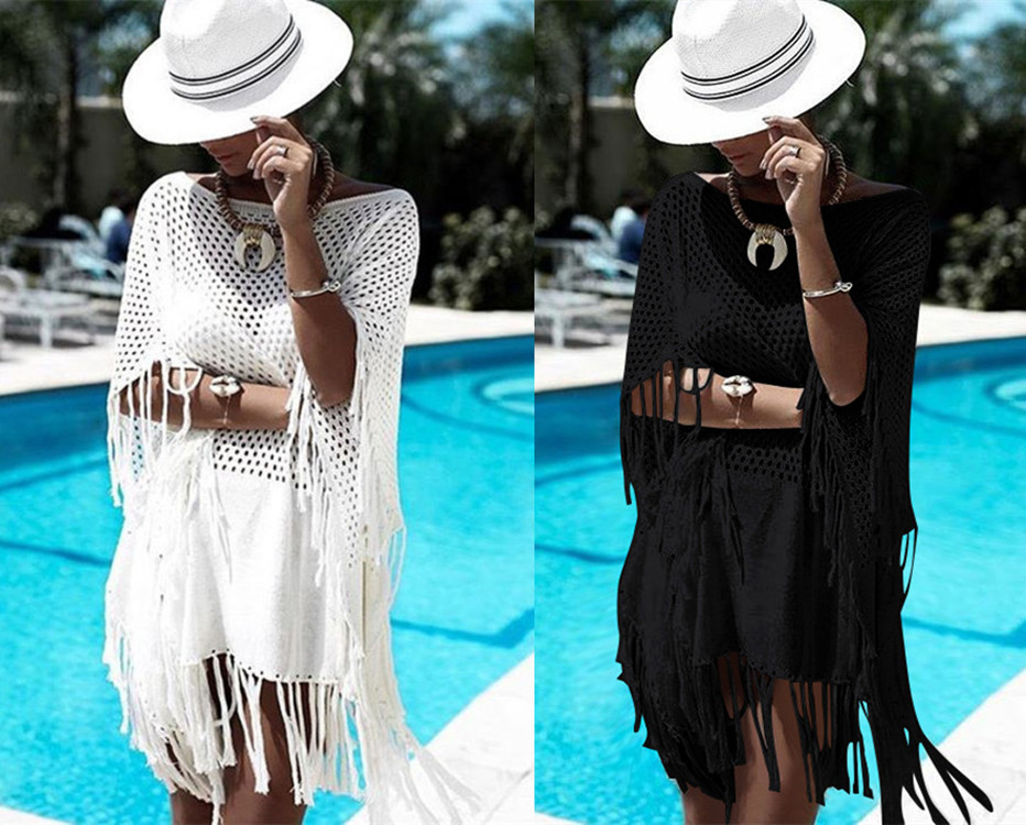 Hot Selling Europe And America Knitted Hollow Out Tassels Beach Skirt Sweater Bikini Cover-up Loose-Fit Sun Shirt