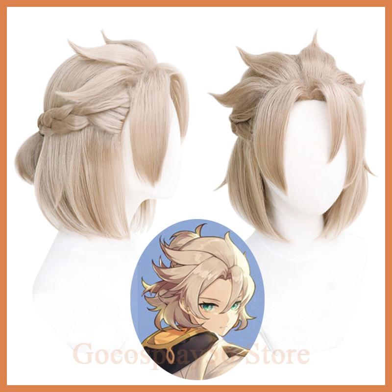 Genshin impacto albedo cosplay peruca 35cm curto trançado pequeno rabo de cavalo resistente ao calor do cabelo halloween role play