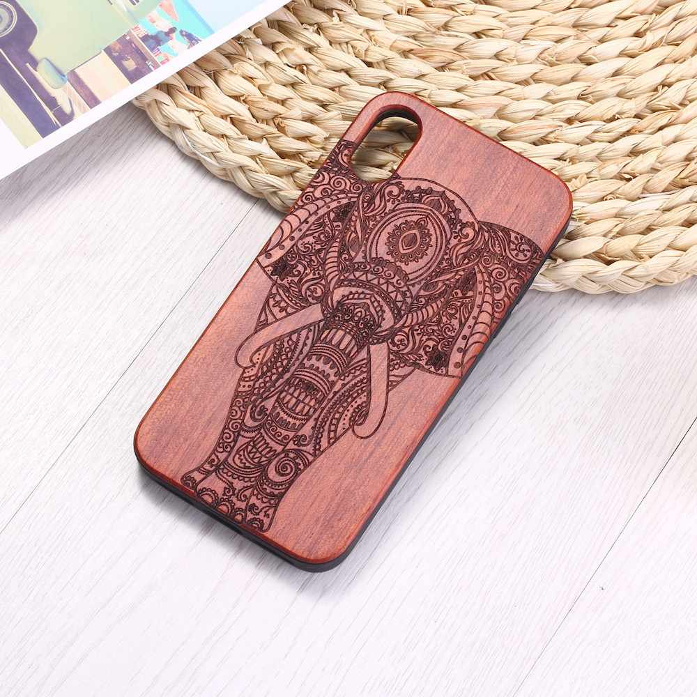 Elephant Vintage Indian Floral Henna Engraved Wood Phone Case Coque For iPhone 6 6S 6Plus 7 q50