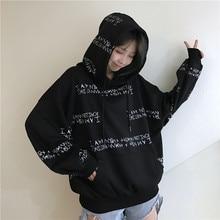 winter women's sweatshirt Harajuku letter printing hooded sweatshirt bf long-sleeved loose Pullovers sweatshirt недорого