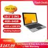 Windows 10 Pro 10.1 INCH 2 IN1 Tablet 4G+64G  N3350 CPU PC 64 Bit  Dock Keyboard  1920 x 1200 IPS 8000mAh Free Earphone OTG