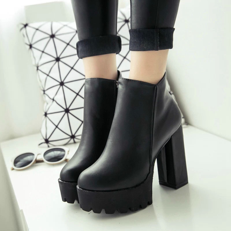 Fashion New Women's Side Zipper Ankle Boots Platform Thick High Heel 10/12 Cm Ladies Boots Winter Woman Shoes Black Boot