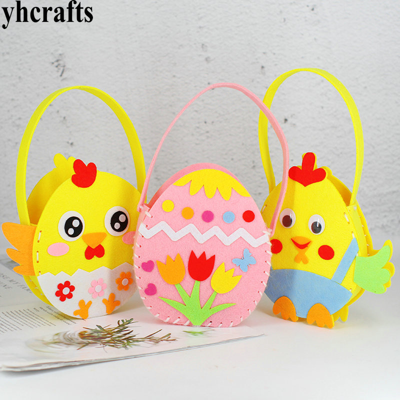 5PCS/Lot.Handmade Non-woven Easter Rabbit Bag Bunny Bucket Crafts Kits Fabric Holiday Project Crafts Toys Felt Crafts DIY Toys