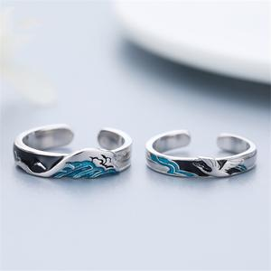 Couple Rings Mountain Sterling Silver S925 Blue Fade Love Woman Sea Glazed Prevent Fine-Carving