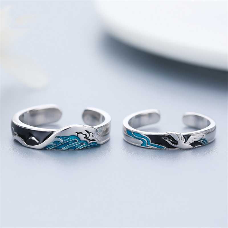 S925 Sterling Silver Prevent Allergy Never Fade Love Pairs Rings Blue Glazed Fine Carving Mountain Sea Woman Man Couple Rings(China)