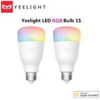 Mijia Yeelight-bombilla LED 1S 8,5 W RGB AC100-240V E27, 800lm, luz WiFi inteligente, bombillas para Control remoto Homekit