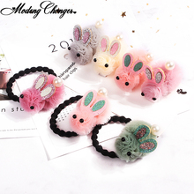 Cute Rabbit Elastic Hair Bands Tie Hairpin Gauze Cartoon Ears Clip For Children Girls Newest Accessories