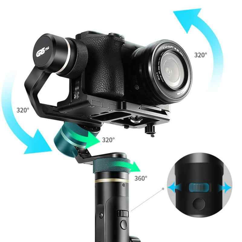 G6 Plus aluminio de mano cardán 3 ejes a prueba de salpicaduras todo redondo con tornillo estabilizador cardán de mano para espejo DSLR cámara