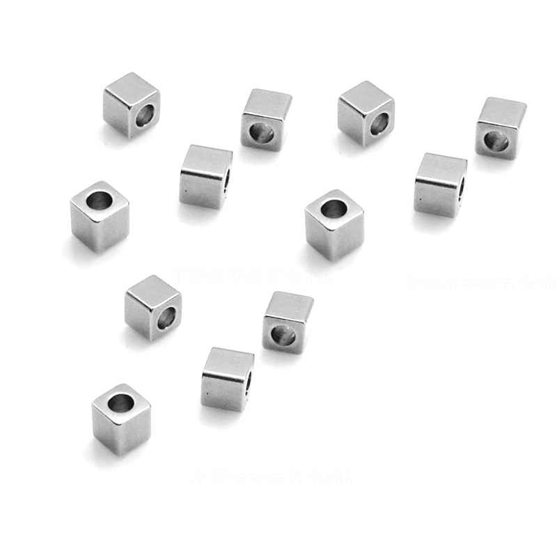 Aiovlo 50 teile/los 3/4/5/6mm Hole2mm Edelstahl Cube Spacer Perlen Platz Lose Perlen für DIY Armband Schmuck, Der Material