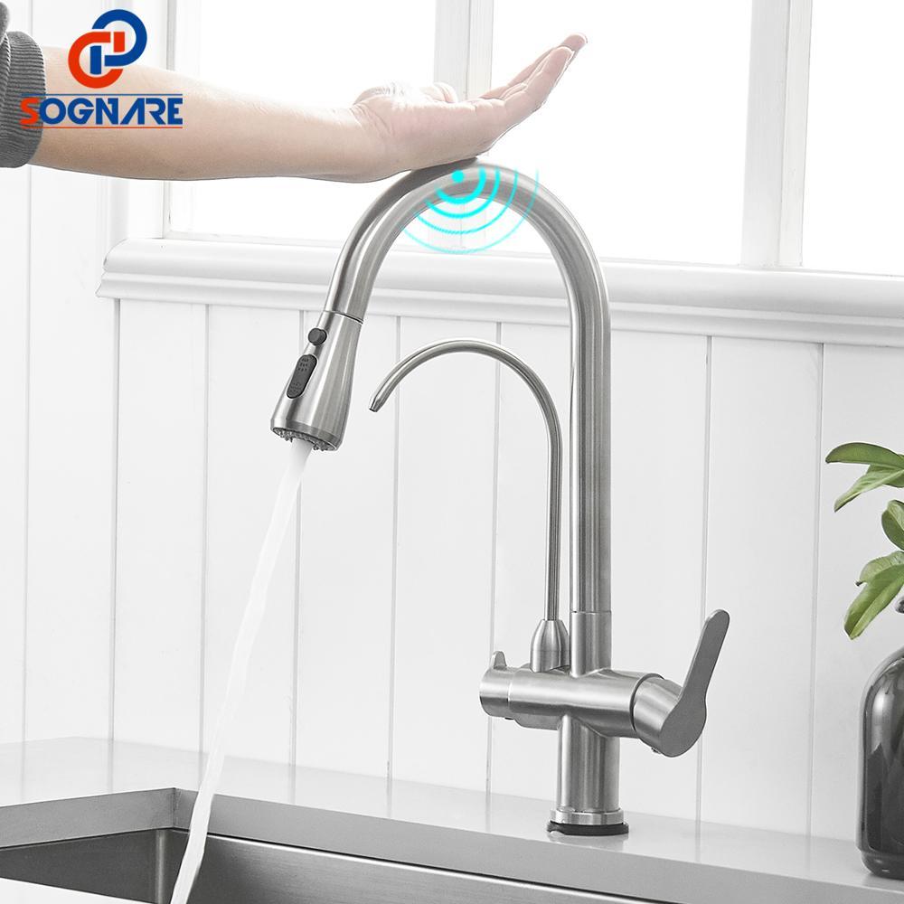 SOGANRE Touch Control Küche Wasserhähne torneira para cozinha de parede Kran Für Küche Wasser Filter Tap Drei Möglichkeiten Waschbecken Mixer