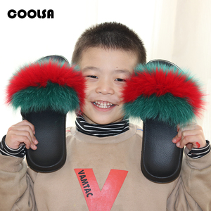 Image 4 - Coolsa Summer Women Fox Fur Slippers Real Fur Slides Female Indoor Flip Flops Casual Raccon Fur Sandals Furry Fluffy Plush Shoes