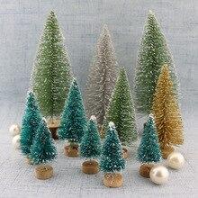 10pcs/set Mini Christmas Tree Sisal Silk Cedar - Decoration Small Gold Silver Blue Green White
