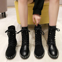 Boots Women Fashion Mid Heel Lace-Up Black Leather Martin Boots Pearl Round Toe Shoes Outdoor PU Leather Winter Female Shoes(China)