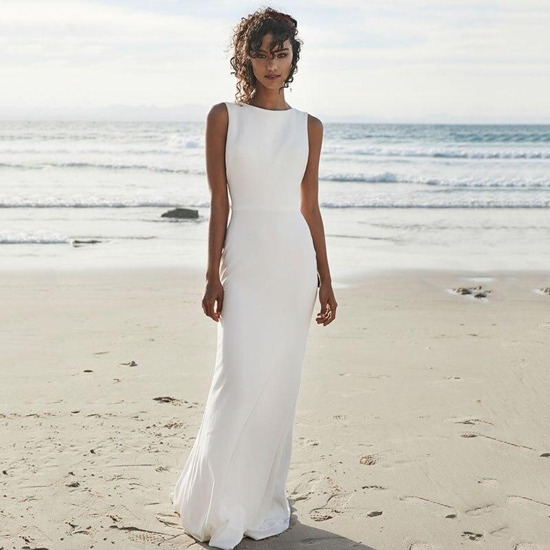 SoDigne Beach Wedding Dress 2019 Floor Length Satin Bride Dresses White/Ivory Romantic  Elegant Boho Bridal Wedding Gown
