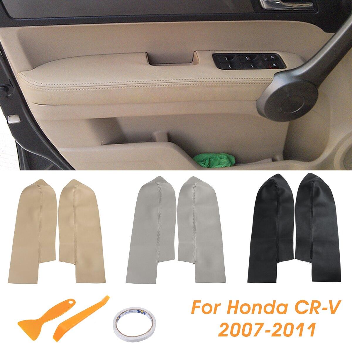 Paire de panneaux de porte avant en cuir pour Honda CRV 2007 2008 2009 2010 2011 2012 noir/Beige/gris