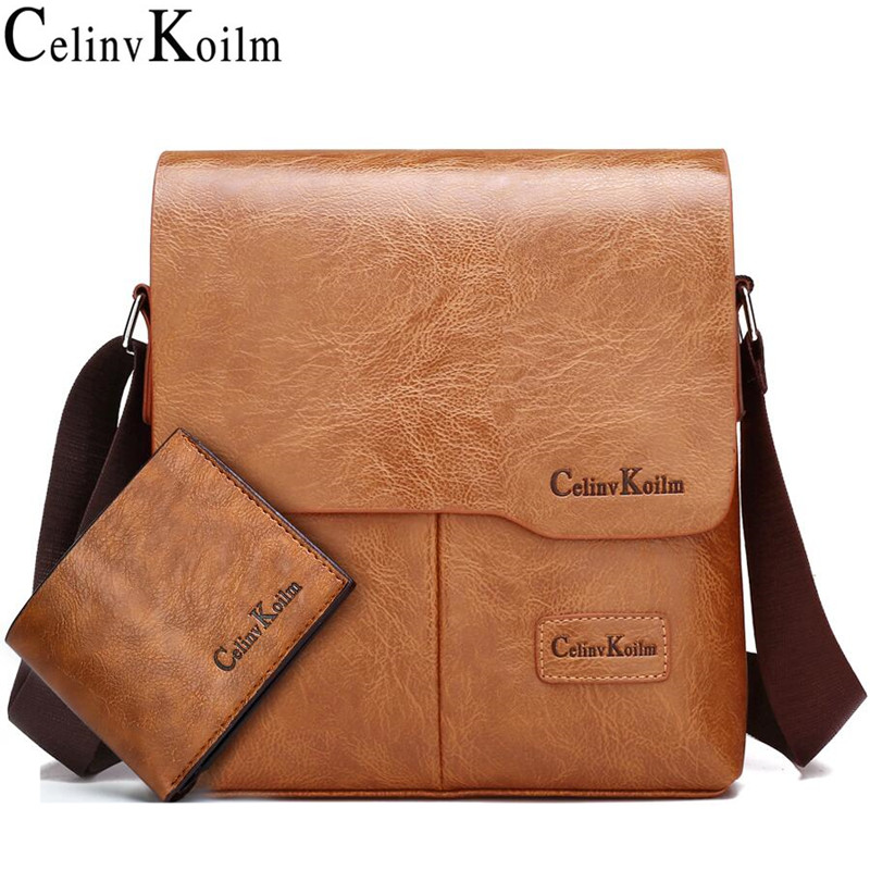 Celinv Koilm Men Tote Bags Set Famous Brand New Fashion Man Leather Messenger Bag Male Cross Body Shoulder Business Bags For Men