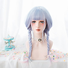 LUPU Long Straight Wig With Bangs Fashion Ombre Light Blue Pink Cosplay Lolita Cute Synthetic Wigs For Women Heat Resistant(China)