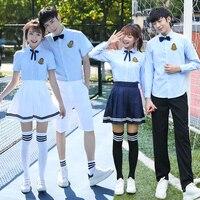 School uniform set college wind summer junior high school students class service blue and white graduation photo clothing