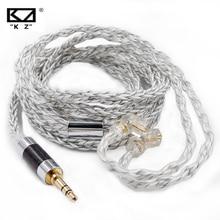 KZ אוזניות 8 ליבת כבל כסף כחול היברידי 784 ליבות כסף מצופה שדרוג כבל עבור KZ ZSX זקס ZS10 פרו ZSN פרו C12 CA16 C10