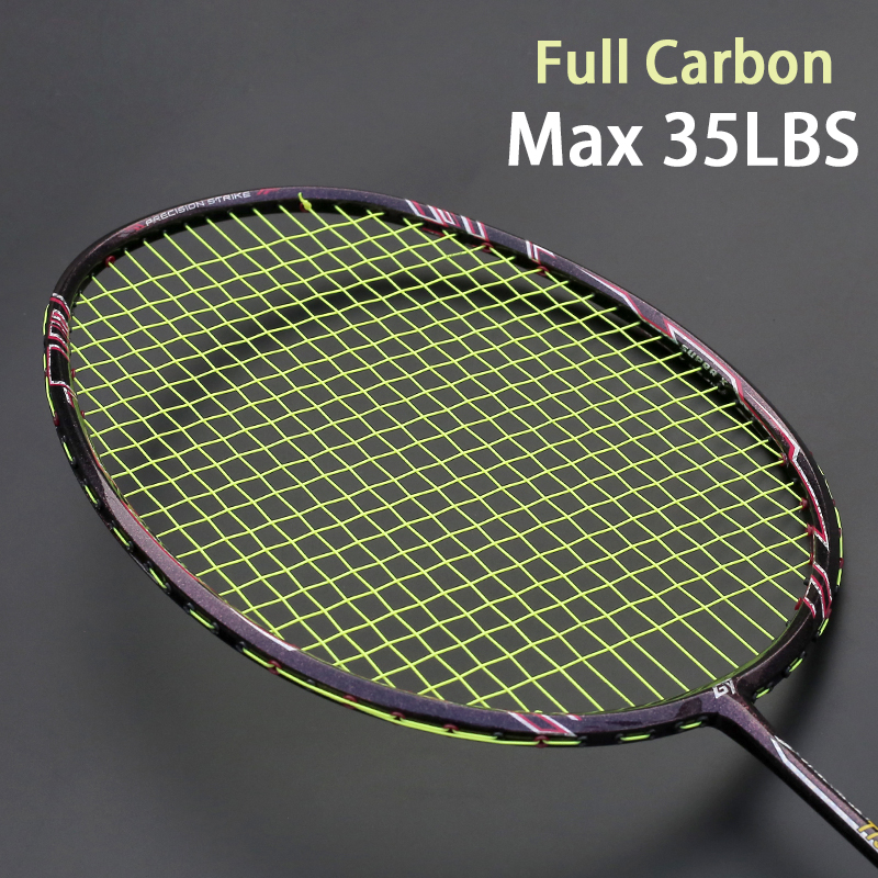Professional Max 35LBS Ultralight Carbon Fiber Badminton Racket Sports Racquet Training Rackets Free For String Overgrip Bags