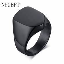 NHGBFT Pgeometric entagonal shield ring for mens stainless steel black ring male jewelry Dropshipping nhgbft punk style tire spinner chain rings for mens stainless steel black color biker ring male jewelry