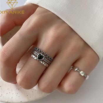 XIYANIKE 925 srebro szerokość pierścienie dla kobiet pary Vintage Trendy LOVE Heart wielowarstwowe Thai biżuteria srebrna Party prezenty tanie i dobre opinie SILVER 925 sterling Kobiety CYRKON Zewnętrzna ocena Drobne Brak Pierścionki VRS2676 GEOMETRIC Pierścień pokazowy zaręczyny
