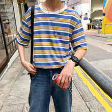 Summer T-shirt Men Fashion Casual Short-sleeved T Shirt Men Streetwear Wild Loose Contrast Color Hip-hop Striped Tshirt Man Tops contrast striped cactus print casual t shirt