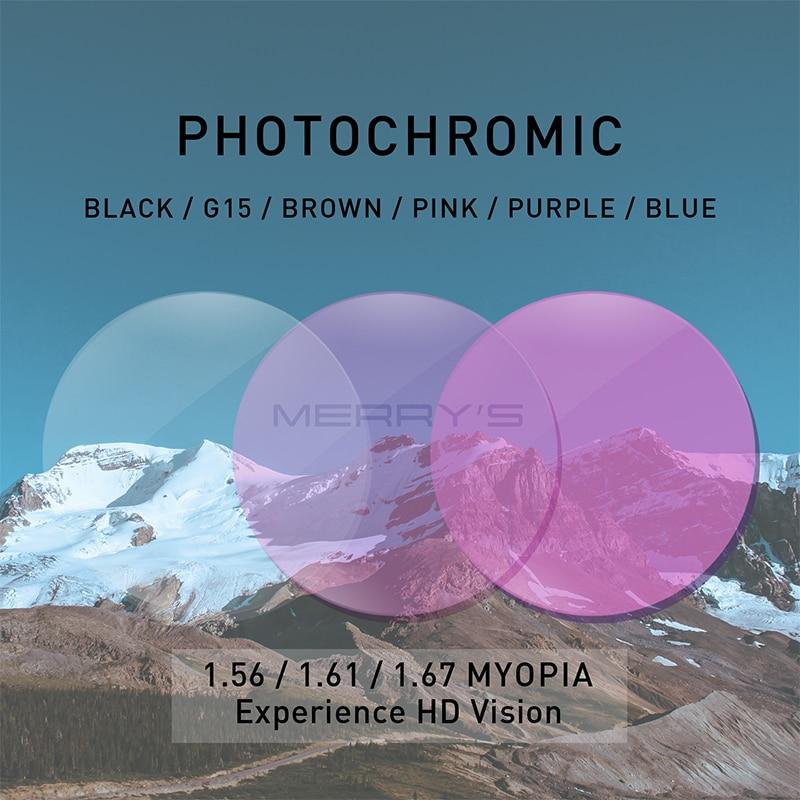 MERRYS Photochromic Gray Green Brown Pink Purple Blue Series 1.56 1.61 1.67 Prescription Glasses Lenses For Myopia Hyperopia