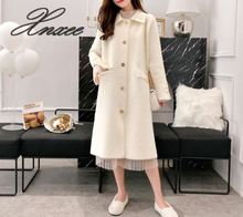 цена на 2019 new spring and autumn women's double-sided coat woolen coat suit collar solid color long section woolen coat winter Xnxee
