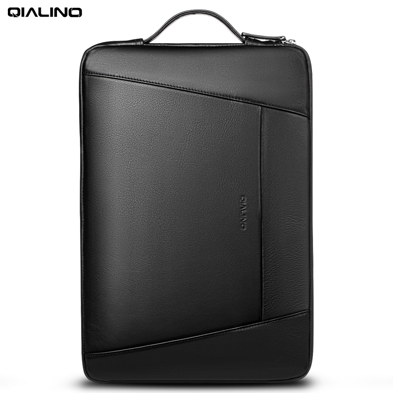 QIALINO Genuine Leather <font><b>Laptop</b></font> Bag Case Ultrabook Notebook 13' 14 <font><b>15</b></font> <font><b>inch</b></font> Case For Macbook Xiaomi Air Pro ASUS Acer Lenovo Dell image