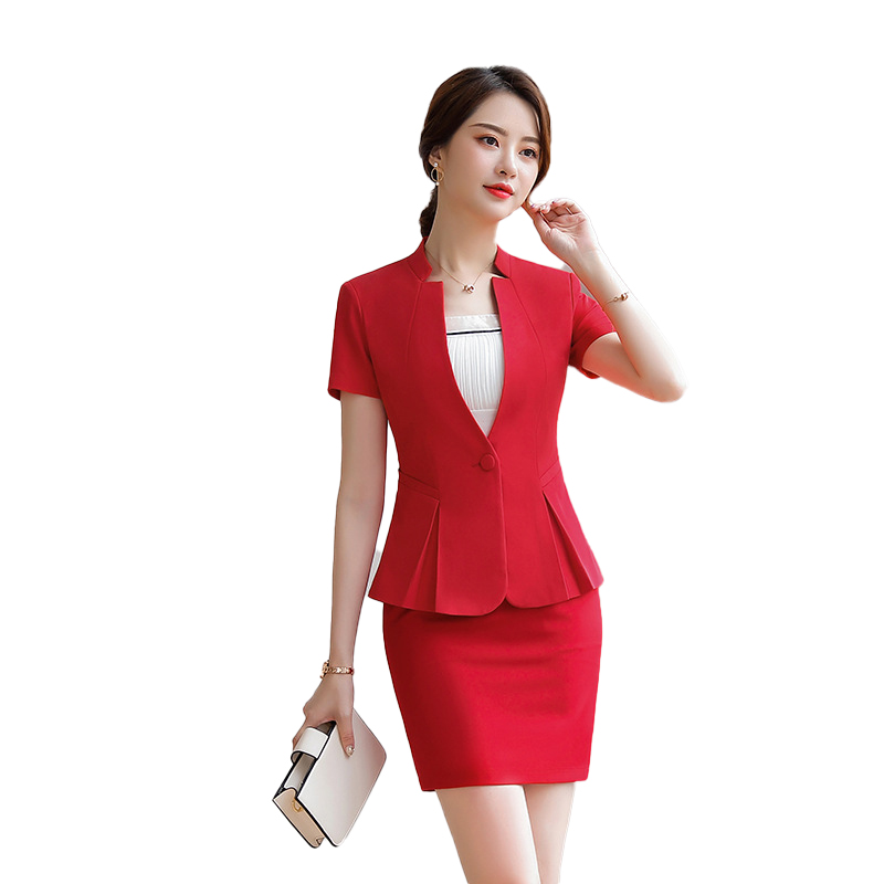 Spring Summer Skirt Suit 2 Pieces Set Fashion Egelant Business Women Suit Office Ladies Work Wear OL Uniform Blazer Short Sleeve